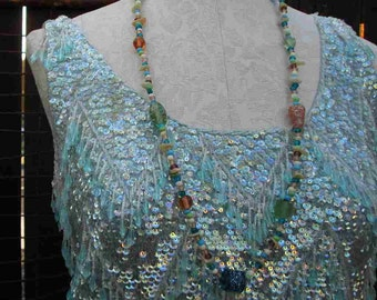 Vintage Beaded Sweater 60s Turquoise Sequin blouse Blue fringe vintage party blouse S M