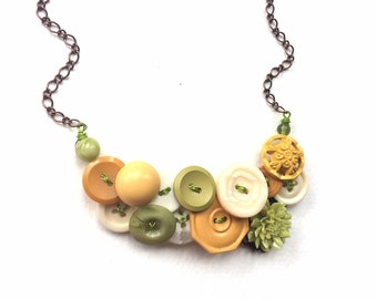 Statement Button Necklace with Yellow, White, and Lime Green Vintage Buttons