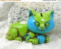Cat Bank / Candleholder, 1960s MOD Blue and Lime Green, Vintage Paper Mache Figurine, Made in Japan, Kitschy Kitty