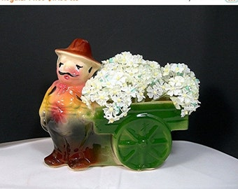 Flower Vendor Planter, Shawnee Pottery, Mustachioed Italian Man with Wagon, Marked with S, Vintage c1940s Collectible, Home Decor