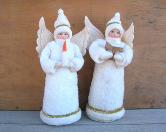 "Christmas Angels Supply for Assemblage, Crafting, Shadowbox Dioramas, 8-1/2"" tall, Porcelain Face, Gown is Felt - Cotton - Sparkles"