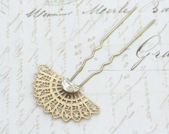Art deco hair comb bridal pin crystal fork golden brass filigree vintage 1920's style elegant gold jewel rhinestone wedding hair accessory