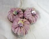 Lavender  Silk Cushions/ Sachets- Set off 3 Handmade - Dusky Rose Pink