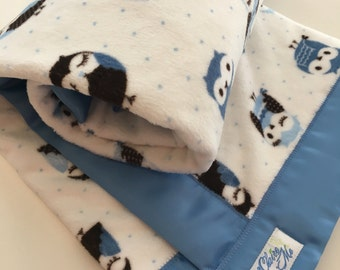 Owl Baby Blanket - Minky Baby Blanket with polka dot
