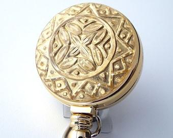Gold Embellished ID Badge Reel, ID Holder, Name Badge Reel 274
