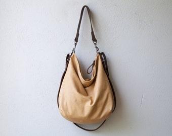 HOBO PACK in soft lightweight Italian lambskin - vachetta - crossbody bag - leather backpack