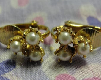 Trio of Simulated Pearl Clip Earrings
