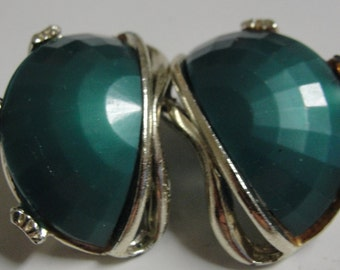 Acrylic Goldtone Green Clip Earrings