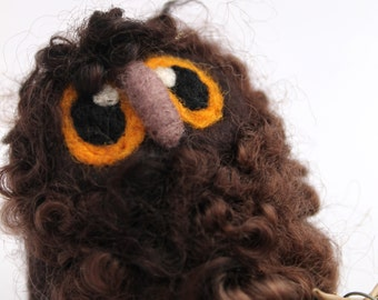 Owl Baby Needle Felted Bird Cute and Fluffy Dark Brown Wensleydale