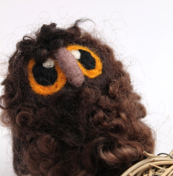 Brown Owl Baby Needle Felted Bird, Felt Owl, Felt Bird Ornament