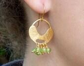 Gold Peridot Earrings,Goldplated Silver Earrings,Gold Textured Earrings,Dangle Earrings-Gemstone Jewelry, Green Stone Earrings, Apple Green