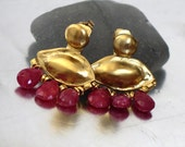 Gold Ear Jackets, Ruby Ear Jacket, Earring Jackets Gold, Gold Earrings, Gold Ruby Earrings, Gold plated Earrings, Genuine Ruby Earrings,