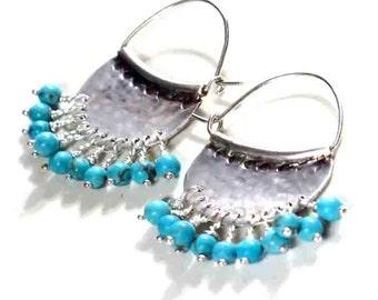 Silver Chandelier Hoop, Turquoise Sterling Earrings, Bohemian Turquoise Jewelry, Hammered Gypsy Earrings, Hippie Earrings