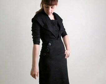 ON SALE Vintage 1950s Wiggle Dress - Black Noir Button Fitted Dress - Medium