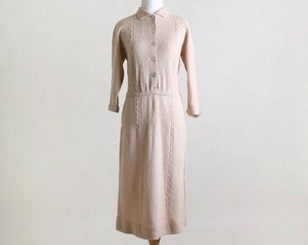 ON SALE 1940s Knit Dress - Spring Vintage Cream Twisted Wave Julius Garfinckel Almond Day Dress - Medium