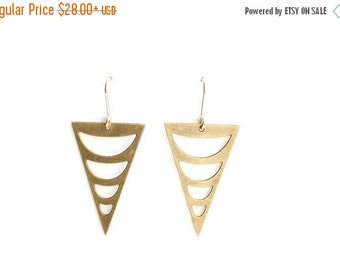 FALL SALE 30% OFF Tribal Crescent Cutout Triangle Earrings - Brass, Gold Fill or Sterling Silver