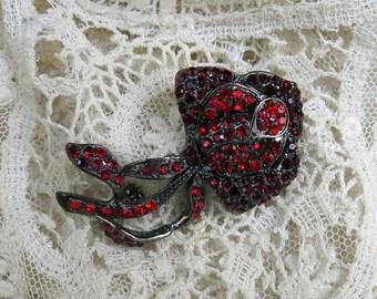 Vintage Garnet Red Rhinestone Brooch, Rose, Flower ... Two tone dark red pin, gunmetal base