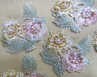 Vintage Rose Lace Appliques, 4 ... Lot of Four Flower Embellishments ... Pastel Pink, Yellow, Green ... Seed Pearls, Sequins