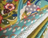 Japanese fabric, Cotton Fabric by the Yard, Momo Flying Colors, Rainbow Fabric, Bird Fabric, Tree fabric, Moda Fabric, Fabric bundle of 6