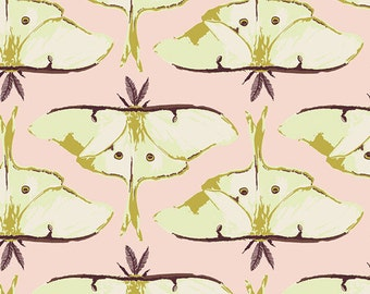Forest Floor fabric by Bonnie Christine for Art Gallery Fabrics, Nature fabric, Pink fabric, Luna Moth, Luna Rising Essence, Choose your cut