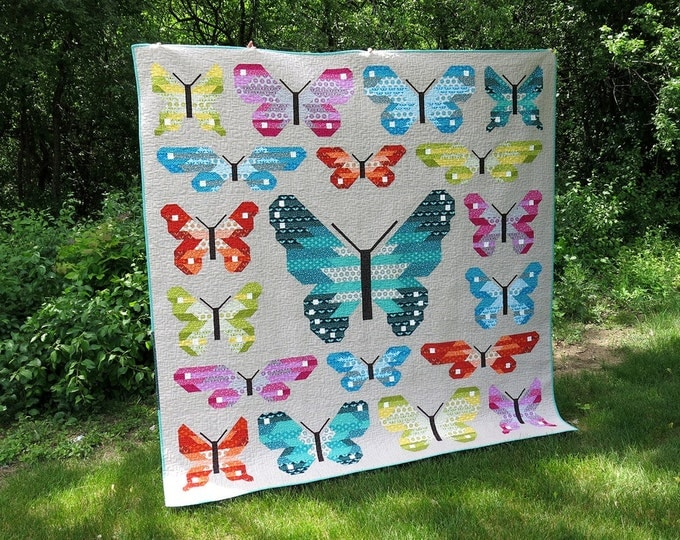 SALE 40 dollars off, DIY Quilt Kit, Butterfly Woodland, Lepidoptera, Elizabeth Hartman, Pattern and fabrics for Quilt Top, Gift for Quilter