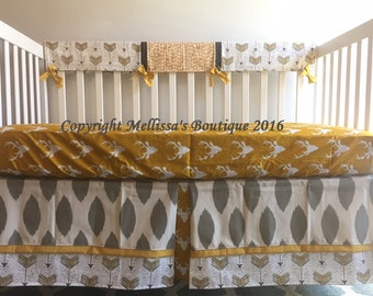 Rustic Deer & Arrows Charcoal Grey and Golden Mustard Yellow Baby Nursery Crib Bedding Set made with Designer Fabrics MADE To ORDER
