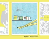 Kitchen Wall Art - MIxer, Sushi, Whisk - Funny Signs - Three 8x10 Art Prints