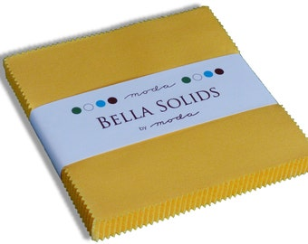 "Yellow Bella Solids Moda Charm Pack, 42 -  5"" precut fabric quilt squares by Moda Fabrics"