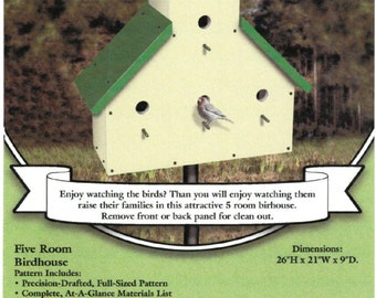 PATTERN 5 Room Birdhouse Yard Art Woodworking Plans by Sherwood Creations