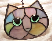Pastel Calico Stained Glass Kitty Cat Face Suncatcher