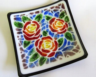 Colorful stenciled roses square fused glass shallow dish