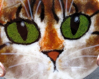 Fused Glass Tabby Cat Face with Copper Display Holder