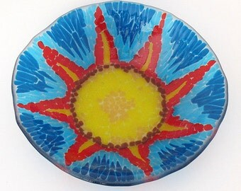 Fused Glass Bowl Bold Colorful Sunburst Mosaic Style Shallow Serving Dish