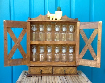 FREE SHIPPING-Vintage Farmhouse Wooden Spice Cabinet w/12 Apothecary Spice Jars-French Country-Cottage-Mid Century-Kitchen Decor-Storage