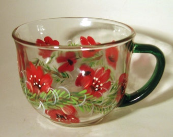 Hand Painted Tea Cup With Red Flowers and Pine Boughs