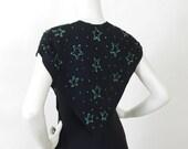 1940's Vintage Green Sequin Star Novelty Print Black Rayon Crepe Evening Dress Sz S