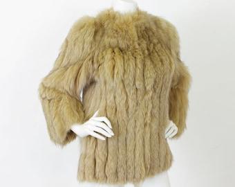 1970's Vintage Women's Genuine Butterscotch Fox Fur Glamorous Coat Sz M