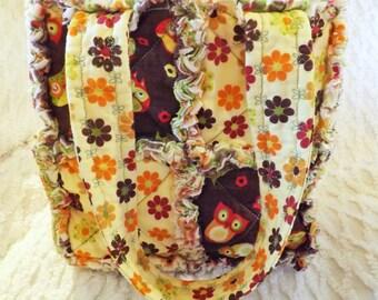 Rag Quilt Tote for Girl - Owls - Flowers - brown, green - Handmade - Girl Handbag - Girl Tote - Child Rag Purse