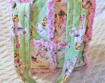 Ballerina Rag Quilt Tote for Girl - Ballet - Pink and Green - Handmade - Girl Handbag - Girl Tote - Child Rag Purse