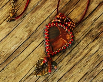 Beaded Cabochon Beaded Bale Necklace - Wings - Bead Weaving - Statement Necklace -  WONDERSTONE RHYOLITE Pendant - BOHO