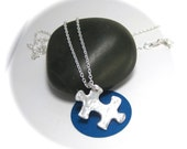 Hammered Silver Puzzle Piece Necklace, Autism Awareness Necklace