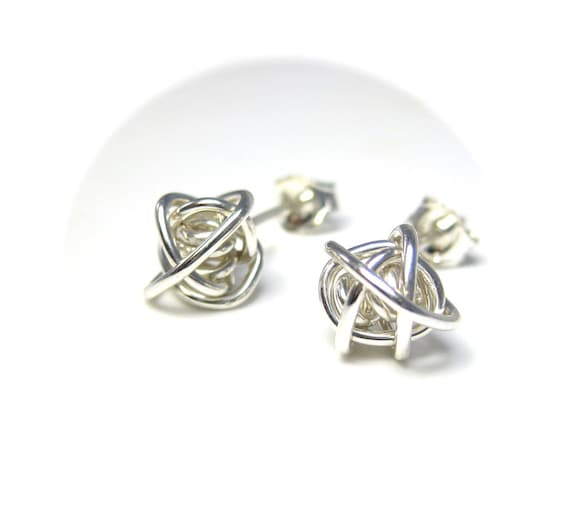 Wire Knot Silver Stud Earrings - Handmade Silver Jewelry - Post Earrings, Best Seller, Knot Earrings