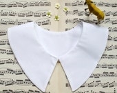 Halloween costume accessory - detachable schoolgirl collar - Peter Pan or butterfly collar, no-button closure, white or ivory cotton