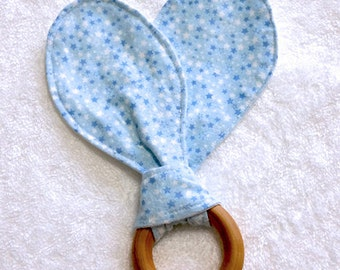 Blue Star, Baby Bunny Ears Teething Ring, Maple Hard Wood Teething Ring