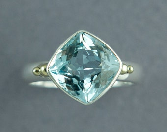 Sky Blue Topaz Ring, Silver Topaz Ring, Cushion Cut Stone, Blue Stone Ring, December Birthstone Ring, Made to Order, Free Courier Shipping