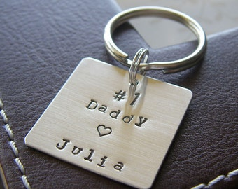 """Custom Keychain - Personalized Hand Stamped Sterling Silver - 1"""" Square Key Chain - Perfect Gift for Father's Day"""