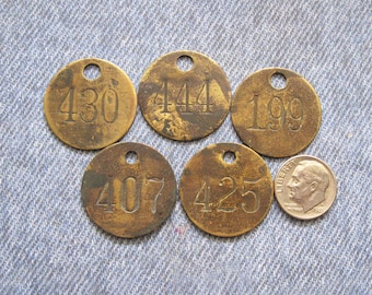 Miners Brass Number Tag Lot Antique Coal Mining Tool Id Check Numbered Fob Tokens for Repurpose
