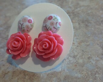 Pretty Set of Resin and Coverbutton Earrings