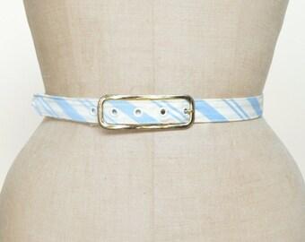 1950s Blue Striped Belt --- Vintage Blue Belt