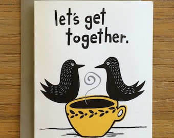 Folk Art Black Birds A2 Greeting Card – Let's Get Together
